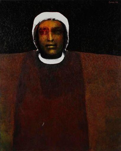 Ömer KALESI [macédo-turc] (né en 1932) Berger, 1990 Huile sur toile. Signée et datée...