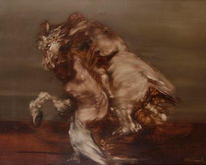 Claude WEISBUCH (1927-2014) Homme sur son cheval cabré Huile sur toile. Signée en...