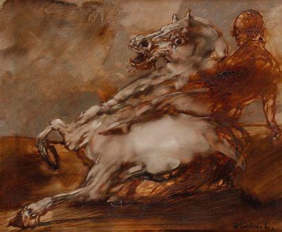 Claude WEISBUCH (1927-2014) Cavalier, 1983 Huile sur toile. Signée en bas à droite....