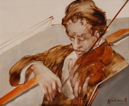 Claude WEISBUCH (1927-2014) Violoniste Huile sur toile. Signée en bas à droite. 33...