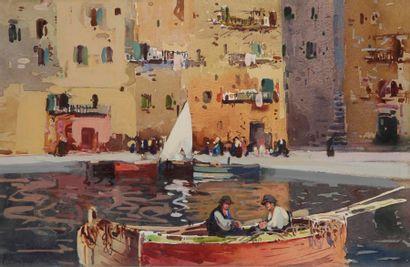 Lucien PERI (1880-1948) Bastia, le vieux port Aquarelle et gouache. Signée en bas...