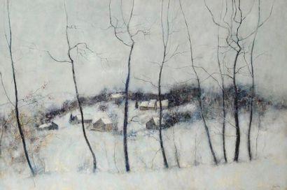Bernard GANTNER (né en 1928) Lisière de forêt sous le neige, 1972 Huile sur toile....