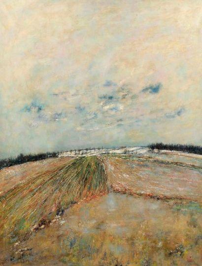 Bernard GANTNER (né en 1928) Neige fondante, 1970 Huile sur toile. Signée et datée...