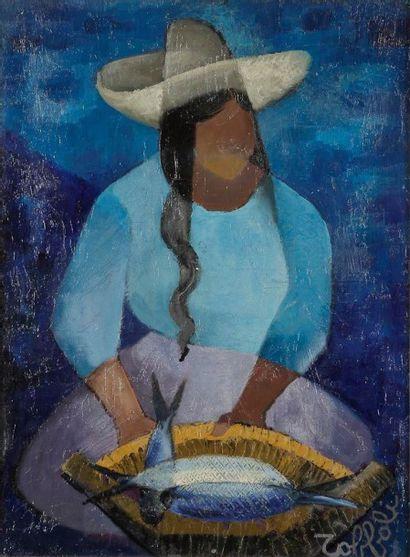 Louis TOFFOLI [franco-italien] (1907-1999) Mexique, Vendeuses de poissons Huile sur...