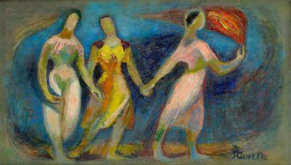 Suzanne TOURTE (1904-1979) La Porteuse de flamme, 1966 Huile sur toile. Signée en...