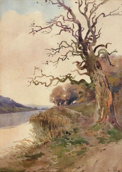 Lucien PERI (1880-1948) Châtaigner au bord du Liamone Aquarelle. Signée en bas à...