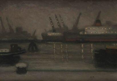 MICHEL TERRASSE (NÉ EN 1928) Le Port marchand la nuit, 1970 Huile sur toile. Monogrammée...