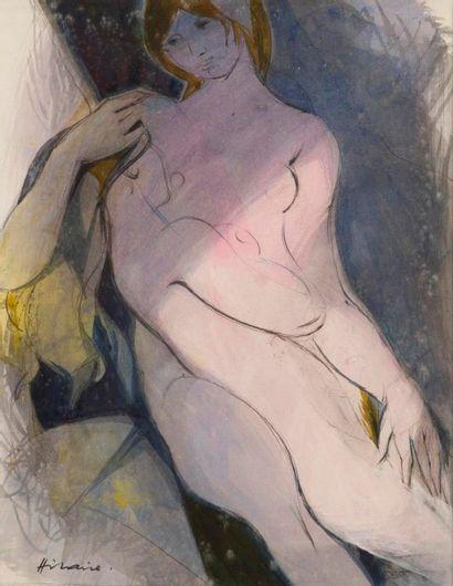 Camille HILAIRE (1916-2004) Les deux amies Aquarelle. Signée en bas à gauche. 36...