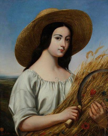 Édouard Auguste MELOTTE (XIXe siècle) Bergère, 1842 Huile sur toile. Signée, datée...