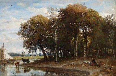 Félix Hippolyte LANOUE (1812-1872) Berger au bord de la rivière et moulin à vent...