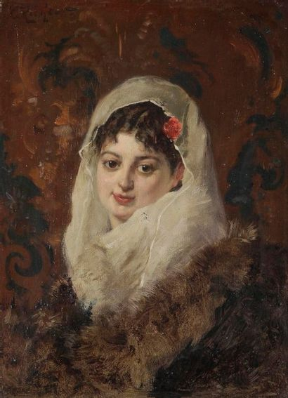 Édouard Frederic Wilhem RICHTER (1844-1913) Femme à la mantille Huile sur toile....