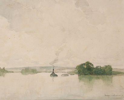 Henri-Maurice CAHOURS (1889-1954) Bateau sur la Seine. Aquarelle Signée en bas à...
