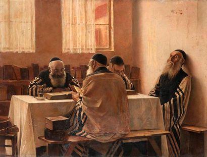 Alois Heinrich PRIECHENFRIED (1867-1953) Rabbins en méditation Huile sur toile. Signée...