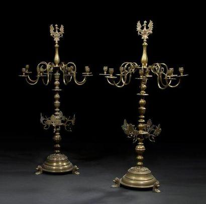 PAIRE DE LAMPES DE SHABBAT DE SYNAGOGUE SUR...
