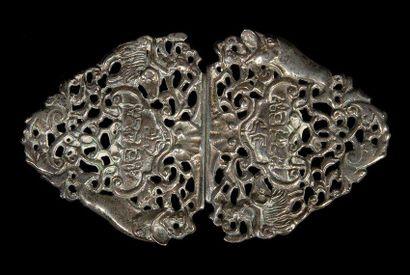 BOUCLE DE CEINTURE POUR ROCH HACHANA ET KIPPOUR Pologne, XVIIIe siècle. Argent repoussé...