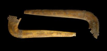 SHOFAR Deux shofar en corne de bélier, crénelés,...