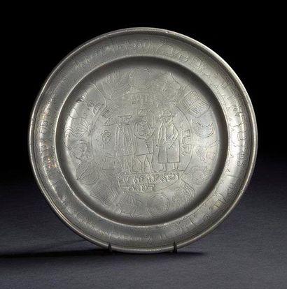 PLATEAU DE SEDER Bohème, XVIIIe siècle. Étain...