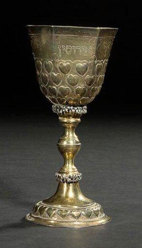 COUPE DE KIDDOUSH DE MARIAGE Allemagne, Breslau, début XVIIIe siècle. Argent doré,...