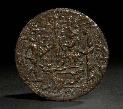 [MÉDAILLE] JUGEMENT DE SALOMON Europe, XIXe siècle. Bronze. Diamètre: 14 cm Médaille...