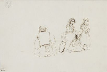 Adrien DAUZATS (1804-1868) Les enfants d'Algérie Dessin au crayon et à l'encre. Monogrammé...