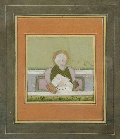 Mollah assis sur une terrasse, Inde, Deccan,...