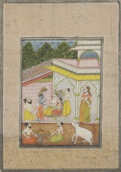 Khrisna rend visite à un roi, Rajasthan,...