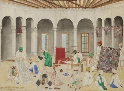 Atelier de tisserand de châles, Cachemire,...