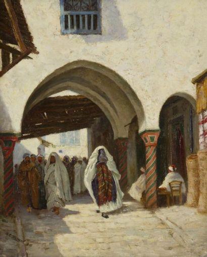 A. E. MEYER (XIXe-XXe siècle) Procession dans la Médinah Huile sur toile. Signée...