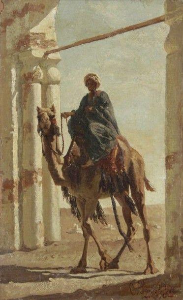 Joseph de La NEZIERE (1873-1944) Femme dans un village africain Huile sur toile....
