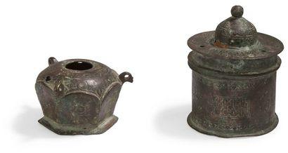 Deux encriers en bronze, Iran oriental, XIIe...