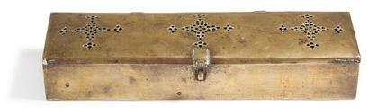 Plumier en laiton, Inde du Nord, XIXe siècle....