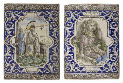 Deux grands carreaux qâjâr aux portraits...