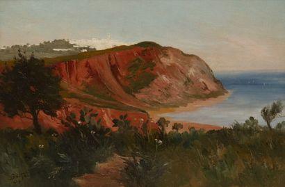Théodore Charles BALKÉ (1875-1951) La côte d'Amilcar, Tunisie, 1914 Huile sur toile....