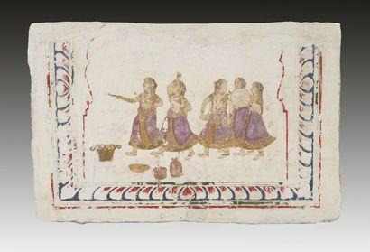 Fragment de fresque murale, Inde, Rajasthan,...