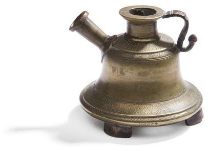 Base de narghilé en bronze, Inde, XIXe siècle....