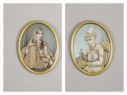 Portraits de l'empereur Akbar et sa femme Jodha Bai, Inde compagny school, XIXe...