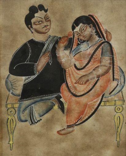 Couple assis sur un divan, Inde du nord, Kalighat seconde moitié du XIXe siècle....