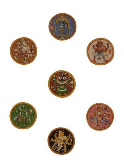 Cartes à jouer, ganjifa, Inde du Nord, Orissa,...