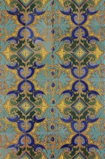 Composition modulaire de médaillons polylobés à c?ur de losanges multicolores, Espagne,...