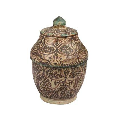 Pot à beurre jobbana, Fès, fin XIXe siècle.. Faïence polychrome brun et vert à panse...