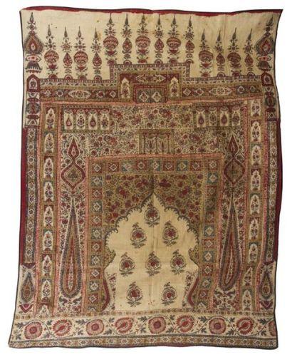 Tenture, kalemkar, à décor de mihrab, Iran...