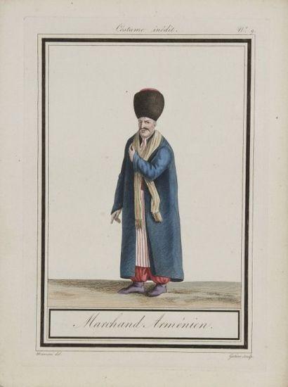 Sept gravures à sujet ottoman, XIXe siècle....