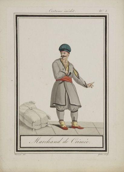 Sept gravures à sujet ottoman, XIXe siècle. Six tirées d'une série «Costume inédit»...