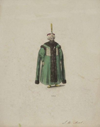 Neuf gravures de costumes ottomans, XIXe siècle. Impression sur papier en polychromie....