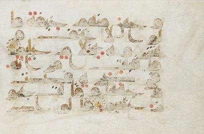 Folio de Coran, Proche Orient ou Afrique du Nord, Xe siècle. Folio sur parchemin...