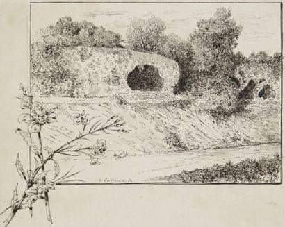 Charles LALLEMAND (1826-1904) Paysage de Tunisie (Terourba) 5 dessins à l'encre de...