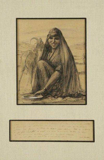 GEORGES ALFRED BOLLE (1887-1959) Portrait d'une bergère tunisienne aux lèvres scarifiées...