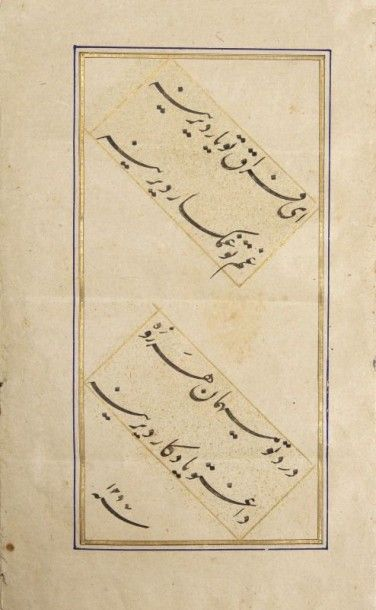 Album, muraqq'a, de six calligraphies, Iran, XIXe siècle. Quatrains poétiques en...