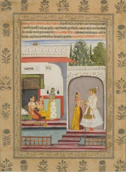 Desakh Ragini A l'entrée d'un pavillon, une...