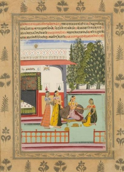 Malsri Ragini Sur la terrasse d'un pavillon,...
